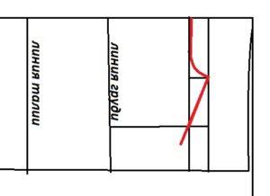 На выкройке чертим красную линию