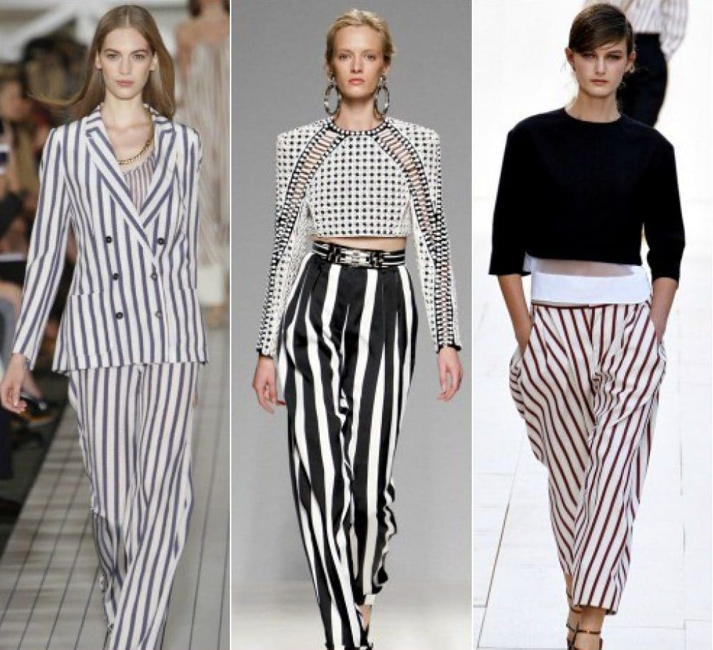 Популярные модели полосатых брюк и варианты сочетаний с ними