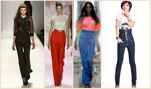 яркие брюки с завышенной талией