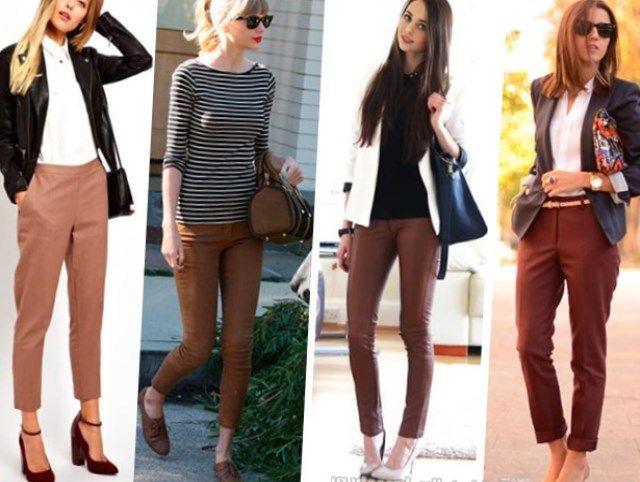 Что подобрать к коричневым брюкам для создания модных образов?