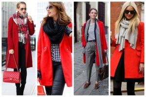 варианты завязать шарф на женском пальто