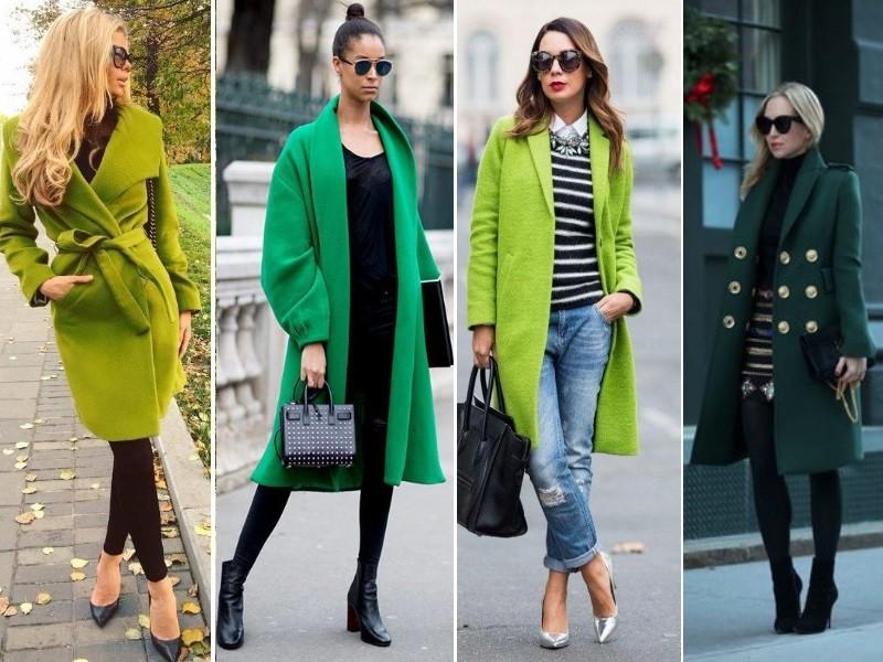 Сочетание зелёного пальто с другими цветами