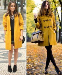 Чёрная обувь под жёлтое пальто