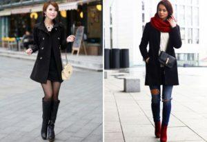 Чёрное пальто и сапоги