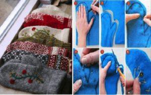 Как сделать варежки из свитера