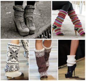 Вязаные гетры с обувью
