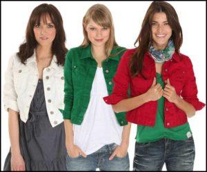 Джинсовые куртки разных цветов