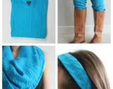 Голубые поделки из старого свитера