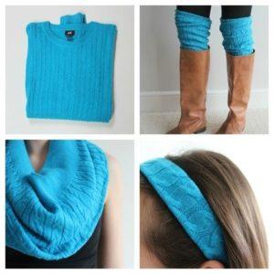 Поделки из старого свитера голубого цвета