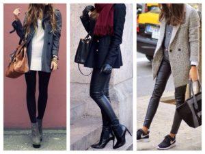 Каблуки и кроссовки под пальто до колена