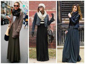 длинная юбка с ботинками и теплыми вещами