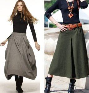 теплая юбка и ботинки