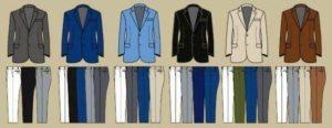 Как сочетать пиджаки и брюки разных цветов
