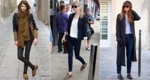 темные джинсы с ботинками