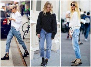 сочетание джинсов и ботинок для женщин