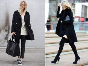 Кроссовки и шпилька под чёрное пальто