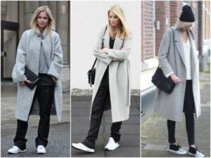 Кроссовки под серое пальто
