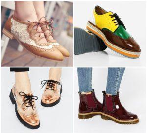 Лаковые цветные коричневые ботинки
