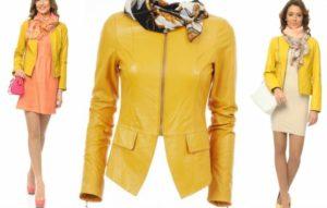 Платье под жёлтую кожаную куртку