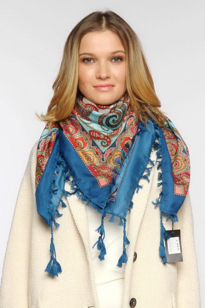 Красиво завязать платок на пальто