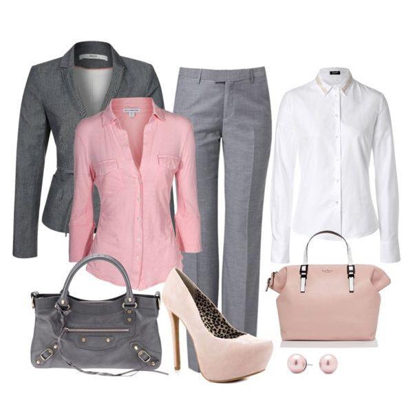 Розовые туфли и деловой костюм