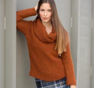 Рыжий свитер оверсайз с большим горлом