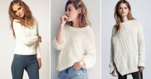 Разные фасоны белых свитеров