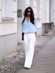 брюки марлен и голубая блузка