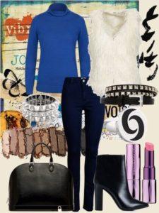 С чем носить сине-голубую водолазку