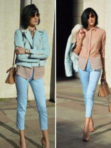 голубые брюки с пастельным верхом
