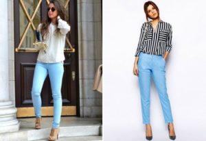 цветной верх к голубым брюкам