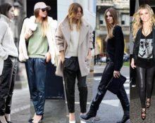 черные кожаные брюки с пальто