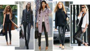 кожаные брюки с сиреневым пальто