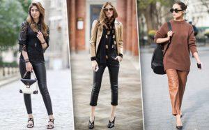 кожаные брюки коричневые