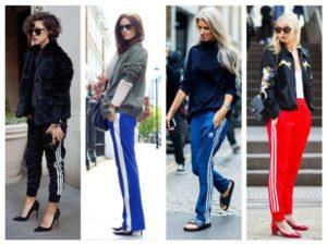 брюки с лампасами в разное время года