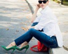 зеленые туфли с белой блузкой