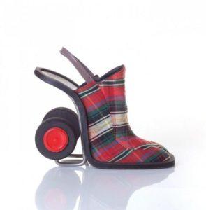Полосатые туфли с каблуком-колесом