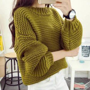 Самый простой узор на свитере — платочная вязка (лицевая-изнаночная)