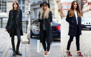 Сапоги, кроссовки и туфли под чёрное пальто