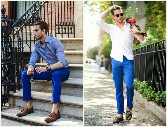 Синие брюки с рубашкой