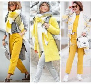 Светлый шарф под жёлтую куртку