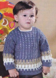 Сиреневый свитер для мальчика крючком