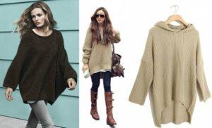 Модели разных цветов свитеров оверсайз