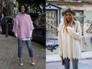 Белый и розовый свитер оверсайз