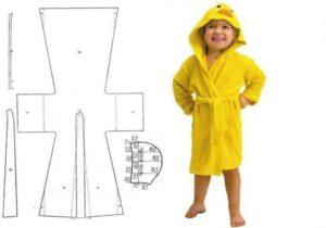 Выкройка халата для девочки с капюшоном