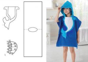 Выкройка халата для девочки из полотенца