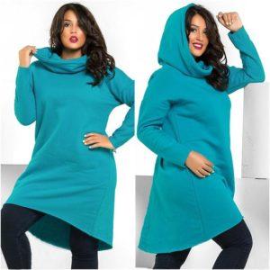 Бирюзовое худи-платье