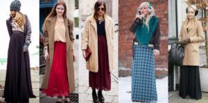Юбка макси и пальто разной длины