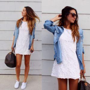 Женская джинсовая куртка и платье