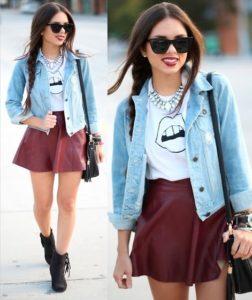 Женская джинсовая куртка и юбка
